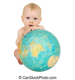 Baby with geographical globe isolated on white - Baby with...