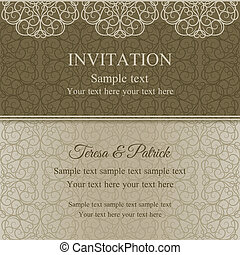 Baroque invitation, dull gold - Baroque invitation card in...