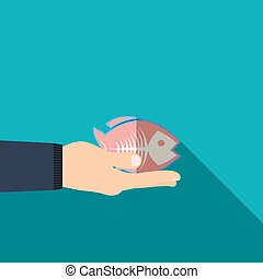 Hand holding fish in flat design on background