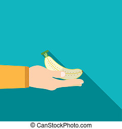 Hand holding banana in flat design on background