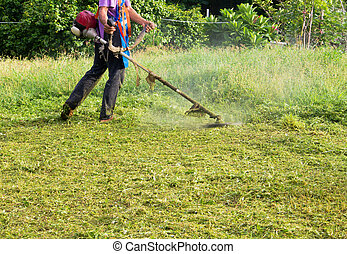 Mowing the Grass  - man mowing weed with mowing machine