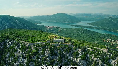 Ston walls aerial - Copter aerial view of the Ston medieval...