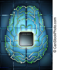 Electronic brain - Microprocessor and printed circuit board...
