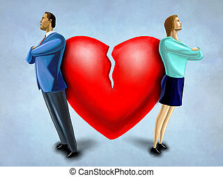 Couple issues - Man and woman facing opposite direction,...