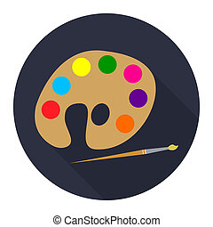 icon palette with paints and brush