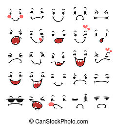 Doodle Facial Expressions Set For Humor Design. Isolated on...