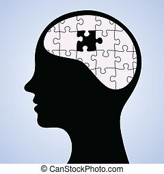 Mind puzzle missing piece - Vector illustration of human...