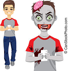 Zombie Man Texting Smartphone - Man walking and texting with...