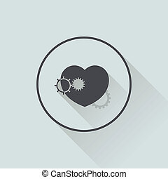 illustration of icon heart in flat design