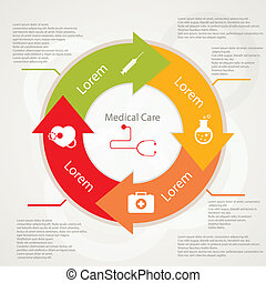 Pharma and Healthcare icons in flat design - illustration of...