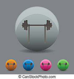 Vector illustration of barbell icon wihh shadow
