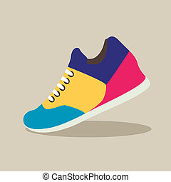 Coloured Sneakers in flat design with shadow