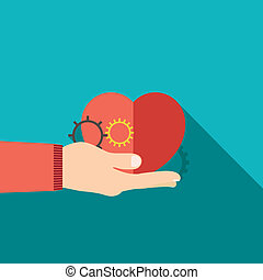 illustration of red heart in hand flat