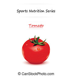 Tomato - illustration of sport nutrition tomato with text