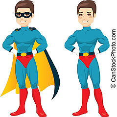Blue Superhero Man - Attractive young man with blue...