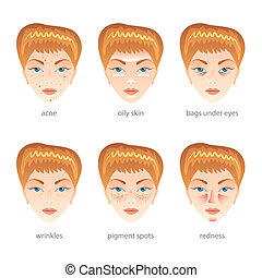 Problem skin vector set - Problem skin, different face...