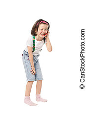 Girl with phone - Naughty and happy girl with mobile phone...