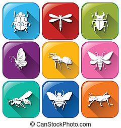 Icons with insects - Illustration of the icons with insects...