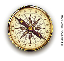 Compass with windrose, retro vector design.