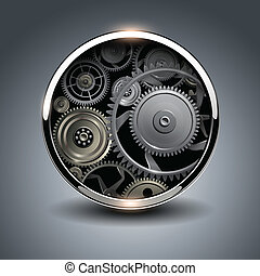 Abstract background metallic chrome 3D button with gears,...