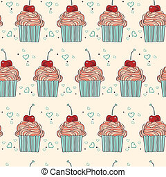 Vector seamless pattern with decorative cupcakes in vintage colors