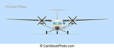 Private plane. Vector illustration. EPS10. Opacity