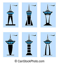 Control tower icons. Vector illustration. EPS10. Opacity