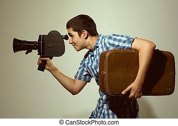 joven, alegre, cineasta, viejo, Película,...