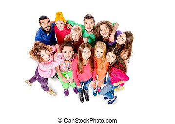 good people - Large group of cheerful young people. Isolated...