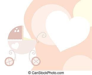 rosa, bambino, carrello
