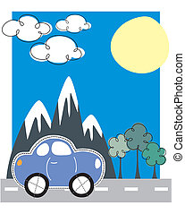 car traveling greeting card - childlike car travel scene