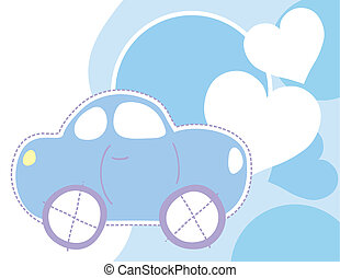 baby car and hearts background