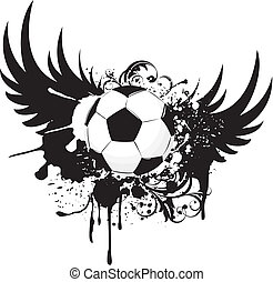 soccer grunge - grunge emblem, winged soccer ball and design...