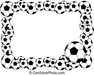 soccer balls frame, vector format very easy to edit