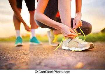 Couple running feet closeup - Runner feet. Running couple...