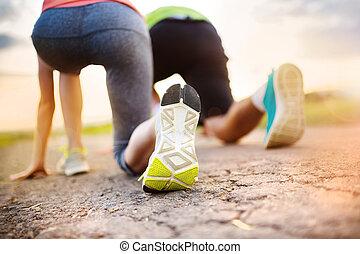 Couple running feet closeup - Runner feet Running couple...