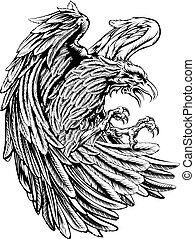 Vintage style eagle - An original eagle illustration in a...