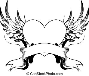 heart tattoo insignia - heart shape with design elements,...