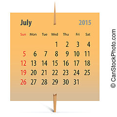 Calendar for July 2015 on an orange sticker attached with...
