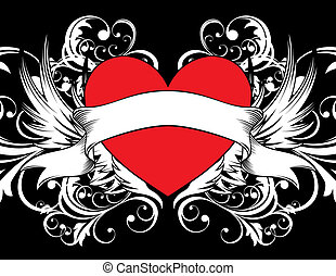 heart tattoo background - heart shape with design elements,...