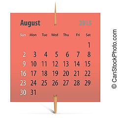 Calendar for August 2015 on a sticker attached with...