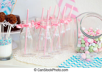 Candy jar and milk bottles - Candy jar and fancy milk...