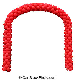 Arch from the red inflatable spheres, isolated on a white...