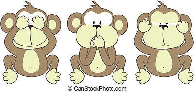 three monkeys saying, See No Evil, Speak No Evil, Hear No...