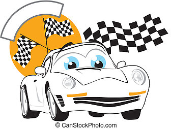 race winner - cartoon race car with copy space, individual...