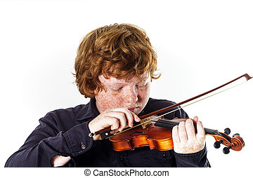 Big fat red-haired boy with small violin. Dmensions...