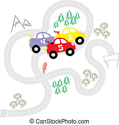 funny kids rally - childlike cars, individual objects very...