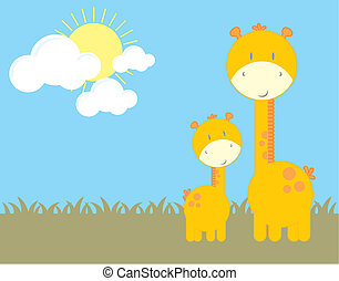 baby giraffe and mom, vector format very easy to edit,...