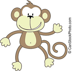 greeting monkey - isolated cartoon monkey, individual...