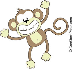 smiling monkey - isolated cartoon monkey, individual objects...
